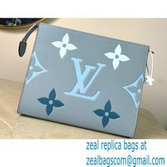 Louis Vuitton Monogram Empreinte Leather Toiletry Pouch 26 Bag M80504 Summer Blue By The Pool Capsule Collection 2021
