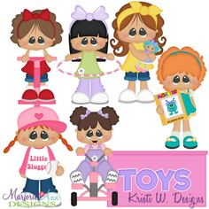 Girls & Their Toys SVG Cutting Files Includes Clipart