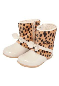 Bota Tricae Leopardo Infantil Bege