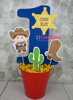 Little Cowboy Age Centerpiece - bucket not included Cowboy Party Centerpiece, Western Party Centerpieces, Cowboy Party Decorations, Cowboy Theme Party, Birthday Centerpieces, Horse Birthday, Cowgirl Birthday, Baby First Birthday, 4th Birthday Parties