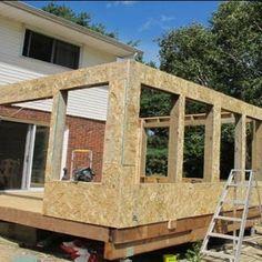 Porch To Sunroom, Screened In Porch Diy, Screened Porch Designs, Sunroom Ideas, Patio Ideas, Front Porch, Diy Patio Enclosure Ideas, Patio Enclosures, Home Exterior Makeover
