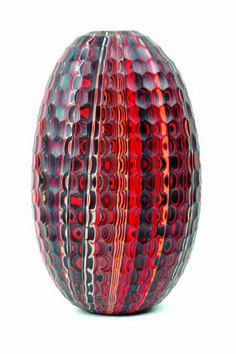 May be a bit much, but the eye has a lot to look at. -- vase... blown glass - Caleb Siemon