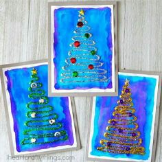 Kerstkaartjes ecoline en glitterlijm