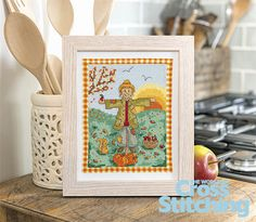 Harvest time – stitch a country scarecrow scene. You'll love the newest in our seasonal series of projects from Jane Henderson. Patch the friendly scarecrow is starting to welcome the autumnal weather. This quick–make project is only in the new issue, 220, of The World of Cross Stitching magazine