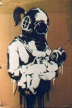 Banksy. Truthfully there is some hidden street art like this picture near Bolles. Wonder if it was a Banksy original?