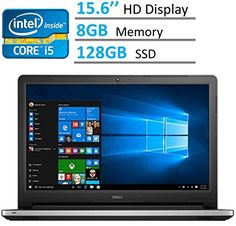 Dell Inspiron 15.6-inch HD (1366 x 768) LED-Backlit Laptop PC | Intel i5-6200u 2.3 GHz | 8GB RAM | 128GB SSD | HDMI | Bluetooth | WebCam | Intel HD Graphics 520 | Windows 10 | Silver