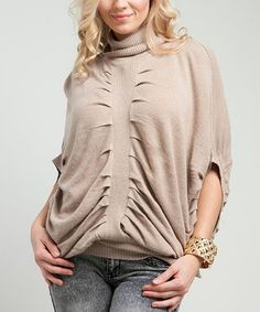 Take a look at this Beige Gathered Turtleneck by Buy in America on #zulily today! $18 !!