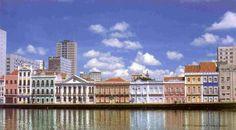 """* Recife, Pernambuco. Brasil * """"Rio Capibaribe"""". Rua da Aurora e seus Edifícios em Estilo 'Colonial'."""