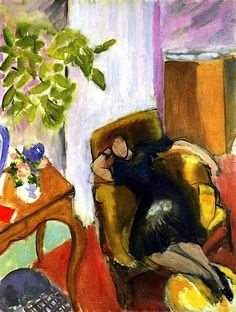 Young Girl in Black in Yellow Armchair, 1935 - Henri Matisse - WikiArt.org