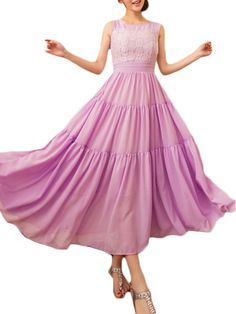Lace Patchwork Delicate Round Neck Maxi Dress--$20.95