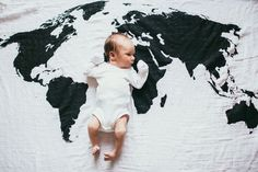 World Map muslin blanket from Modern Burlap. What a fabulous baby gift for our future global citizens.