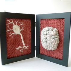 Knitted Neuroscience from aKNITomy on Etsy. Shop more products from aKNITomy on Etsy on Wanelo. Art Au Crochet, Design Tisch, Knitted Animals, Anatomy Art, Red Background, Textile Art, Fiber Art, Lana, Crochet Projects