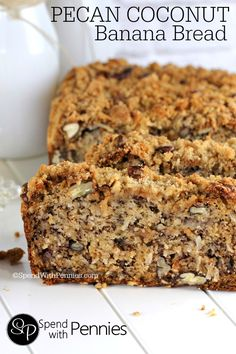 Pecan Coconut Banana Bread Recipe with a crumbly pecan streusel topping!  So moist and amazing, this is my favorite banana bread recipe by far!
