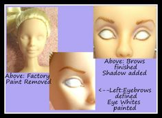 A brief overview and instructions for doll repainting, with many tips and photo examples.