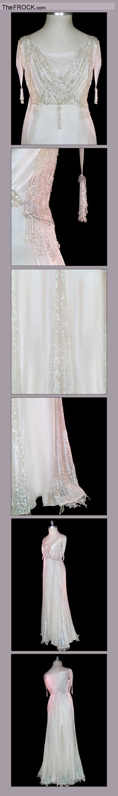 Gorgeous original 1910 beaded and sequin trimmed silk chiffon wedding dress. Love it!