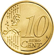 10 Euro Cent Coin (Common Side) - Most Recent Version