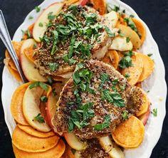 Sautéed Pork Chops with Sweet Potato, Apples and Mustard Sauce