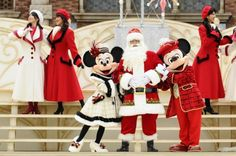 Minnie in white Christmas Dress & Mickey in Red Christmas jacket with Santa - Tokyo Disney Seas