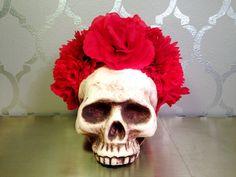 Dia de los Muertos RED FLOWER CROWN by LaCatrinaDeSanDiego on Etsy
