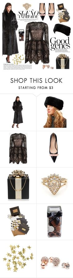 """The Caitlin Black Mink Coat with Fox Tuxedo Collar"" by furhatworld ❤ liked on Polyvore featuring Anja, FRR, Alexis, Kate Spade, Chronicle Books, FREDS at Barneys New York, H&M and GUESS"