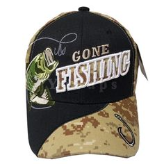 Gone Fishing Bass Outdoors Hat Black Khaki Digital Camo Camp Baseball Cap