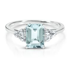 Octagonal Cut Aquamarine Ring available at #HelzbergDiamonds- steve's birthstone.