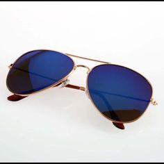 Blue Unisex 80'S Aviator Sunglasses