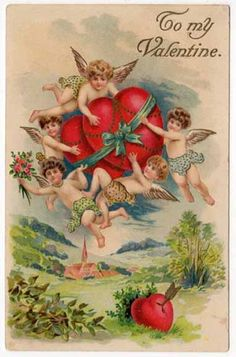 Valentines Day Postcard of Cupid Cherubs Flying with Hearts