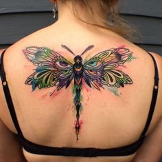 Large dragonfly tattoo on back by Max