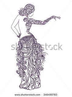 Ornament beautiful card with girl belly dance and Tribal Fusion. Mehenidi element hand drawn. Perfect cards for any other kind of design, oriental dance, kaleidoscope, medallion, yoga, india, arabic