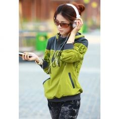 $10.55 Cool Style Stand Collar Pattern String Zipper Long Sleeves Cotton Hooded Coat For Women