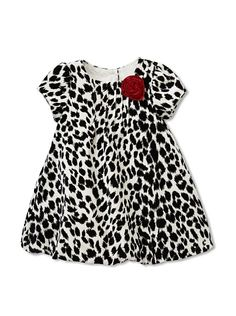 $28 Pippa & Julie Velvet Rosette Dress        Leopard-print velvet, front pintuck detailing, satin rosette, 3-button back closure, bubble hem, coordinating satin bloomers