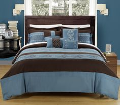 Embroidered Comforter set, featuring Blue and Brown tones to brighten up any room and add a splash of color. Detailed piecing along with attention to detail make this set a true masterpiece. This 8-piece lavish comforter set comes with everything you need to do a complete makeover for your master or guest suite.
