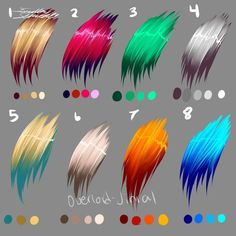 oooookay i made some color palettes for hair this time instead of eyes. i hope everyone enjoys these. done in paint tool sai.