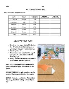 Are You Ready for some Football?!  NFL field goal statistics performance activity.  Fractions, Decimals, Percents and Mean.