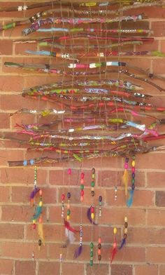 This is a painted stick weaving made by students at Goornong Primary School.
