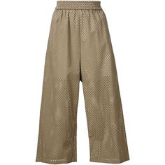 Nº21 perforated cropped trousers ($850) ❤ liked on Polyvore featuring pants, capris, green, brown pants, green cropped pants, green pants, cotton crop pants and cropped capri pants