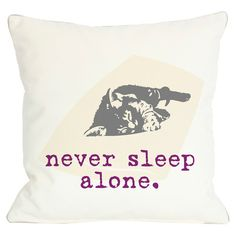 Throw pillow with a typographic motif and sleeping cat detailing.   Product: PillowConstruction Material: Polye...