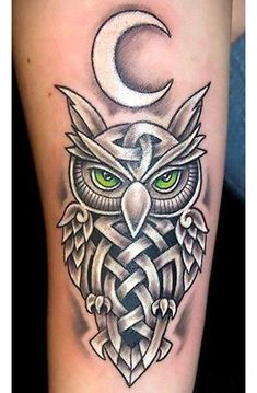 A meaningful Celtic tattoo of an owl with the Moon symbol.
