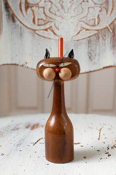 Vintage Mid Century Modern Wood Cat Pen/Pencil by HouseofSeance, $26.00