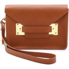 Sophie Hulme Mini Envelope Bag (€440) ❤ liked on Polyvore featuring bags, handbags, shoulder bags, purses, tan, brown leather handbags, leather shoulder bag, brown handbags, mini shoulder bag and shoulder handbags