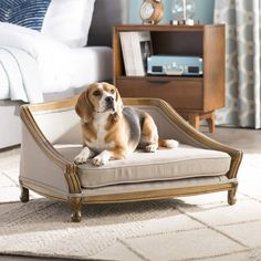Archie & Oscar Anita Sophisticated Decorative Dog Sofa with Arched Wood Frame Dog Sofa Bed, Wood Dog Bed, Couch, Curved Wood, Solid Wood, Dog Furniture, Upcycled Furniture, Furniture Ideas, Dog Beds