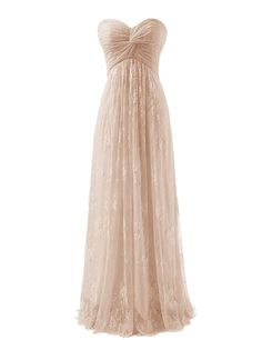 Diyouth Long Strapless Lace Flower Bridesmaid Dresses Chiffon Prom Dress Champagne Size 2