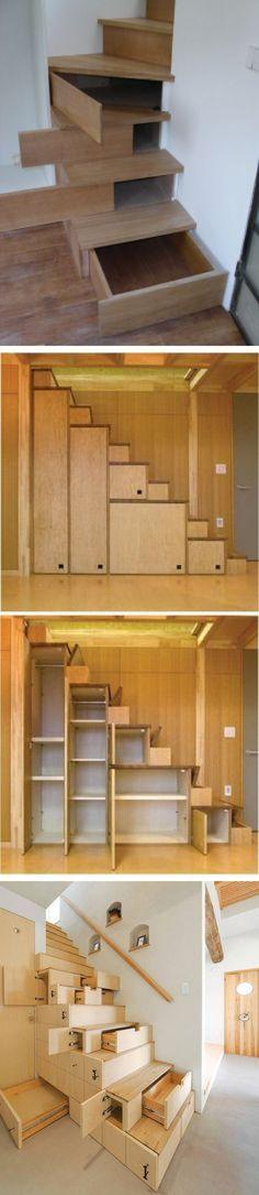 (21) Hidden Storage In Stairs - http://www.stashvault.com/hidden-storage-in-stairs-2/ | STORAGE