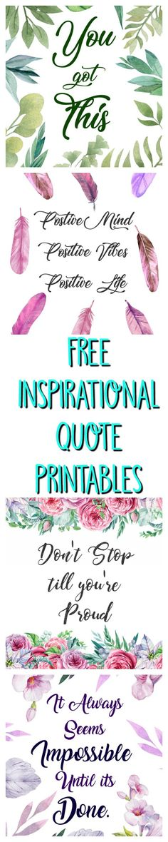 5 Free Inspirational Quote Printables watercolor art calligraphy prints