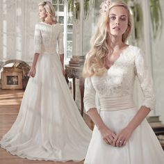 A stunning modest v-neckline wedding dress with length lace sleeves. Wedding Dress Necklines, Modest Wedding Dresses, Conservative Wedding Dress, Bridal Gowns, Wedding Gowns, Fairy Wedding Dress, Wedding Dressses, Marriage Dress, White Bridal