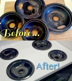 Get those gross burner pans looking like new!! It's SO easy, no scrubbing necessary!
