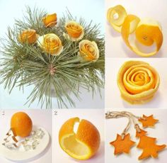 Cute decoration made with peeled oranges. Do you want to make it?