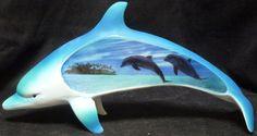"""SEA DREAM Dolphin w/ scene statue figure  L11.85"""""""