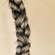 braid by Inese Auzina Compressed Charcoal, Drawing Hair, How To Draw Hair, Cute Illustration, Pencil Drawings, Sketching, Braids, Illustrations, Art
